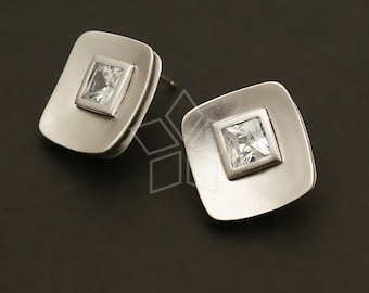 SI-249-MS / 2 Pcs - Quad Cubic Earrings, Matte Silver Plated over Brass Body with .925 Sterling Silver Post / 16mm x 17mm