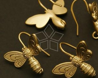 EA-089-MG / 2 Pcs - Honey Bee Hook Earrings, Matte Gold Plated over Brass / 13 x 18mm
