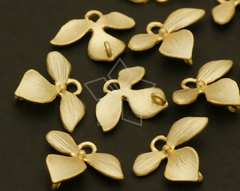 AC-404-MG / 4 Pcs - Wild Orchid Floret Connector, Mini-Size, Matte Gold Plated over Brass / 12mm x 9mm