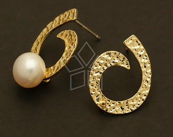 SI-092-GD / 2 Pcs - Spin Earring Findings, Gold Plated over Brass, with .925 Sterling Silver Post / 16mm x 20mm