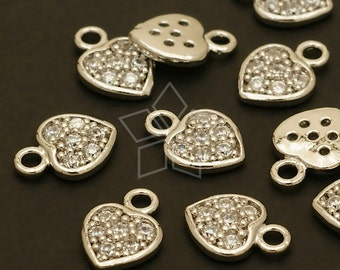 PD-384-OR / 2 Pcs - Mini CZ Stone Heart Charms, Tiny Heart Pendant, Silver Plated over Brass / 7mm x 10mm
