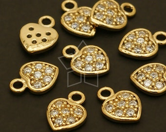 PD-385-GD / 2 Pcs - Mini CZ Stone Heart Charms, Tiny Heart Pendant, Gold Plated over Brass / 7mm x 10mm
