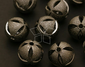 ME-095-BL / 4 Pcs - Carving Sand Ball Beads, Black Plated over Brass / 12mm