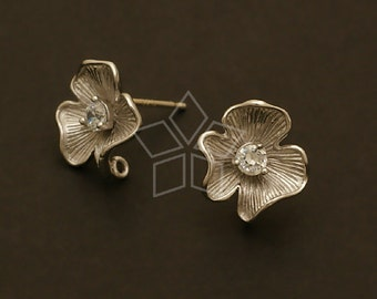 SI-488-MS / 2 Pcs - Sweet Flower Earrings, Matte Silver Plated, with .925 Sterling Silver Post / 12mm x 12mm