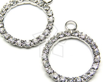 PD-002-OR / 2 Pcs - Circle Rhinestones Pendant, Silver Plated over Brass / 18mm x 21mm