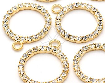 PD-096-GD / 2 Pcs - Circle Rhinestones Pendant, Gold Plated over Brass / 18mm x 21mm