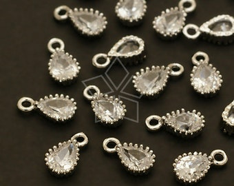 PD-402-OR / 4 Pcs - Very Tiny Drop CZ Charms, Silver Plated over Brass / 4mm x 7mm