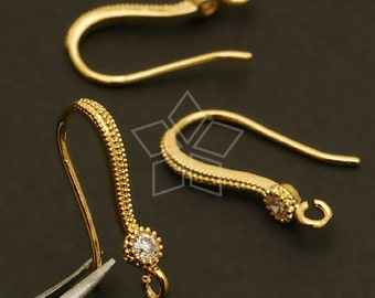 EA-097-GD / 4 Pcs - Shapely Single Stone Hook Ear Wires, Gold Plated over Brass / 18.5mm