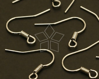 EA-X03-OR /  40 Pcs - Basic French earring hooks, Silver Plated over Brass / 16mm