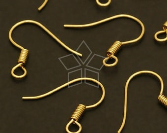 EA-X04-GD / 40 Pcs - Basic French earring hooks, 16K Gold Plated over Brass / 16mm