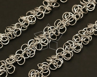 CH-048-OR / 40 cm - Chain Mini Rings, Silver Plated over Brass / 5mm