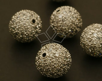 ME-107-OR / 1 Pcs - (Crystal) Pave Setting Cubic Bead Ball, Silver Plated over Brass / 12mm