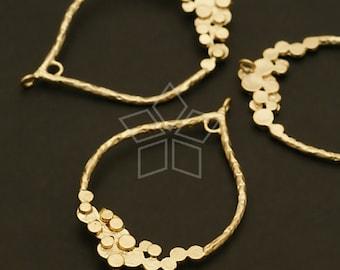 AC-431-MG / 2 Pcs - Dewdrop Pendant, Matte Gold Plated over Brass / 23mm x 36mm