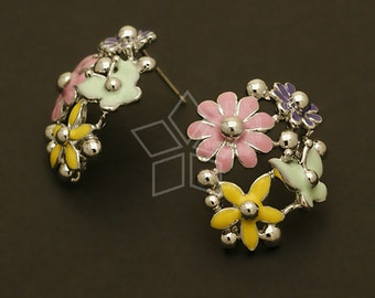 SI-490-OR / 2 Pcs - Pastel Colorful Flower Earrings, Silver Plated over Brass Body with .925 Sterling Silver Post / 19mm x 23mm