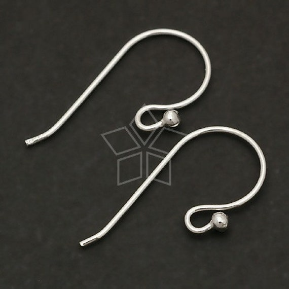 SI-113-OR / 4 Pcs - Ball Point Hook Ear Wires, Tarnish Resistant .925 Sterling Silver / 18mm