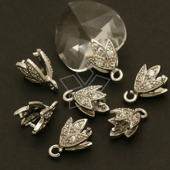 PS-046-OR / 2 Pcs - Sprout Pinch Bail with CZ Stone Detail, Silver Plated over Brass / 6mm x 10mm