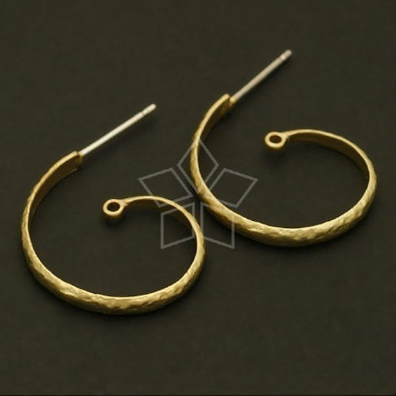 SI-364-MG / 2 Pcs - Snail Earring Findings, Matte Gold Plated over Brass Body with .925 Sterling Silver Post / 20mm