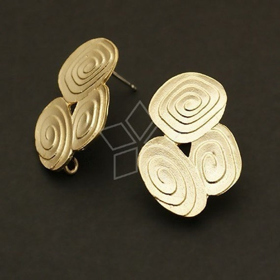SI-232-MG / 2 Pcs - Tri-Eddy Earring Findings, Matte Gold Plated over Brass Body with .925 Sterling Silver Post / 16mm x 23mm