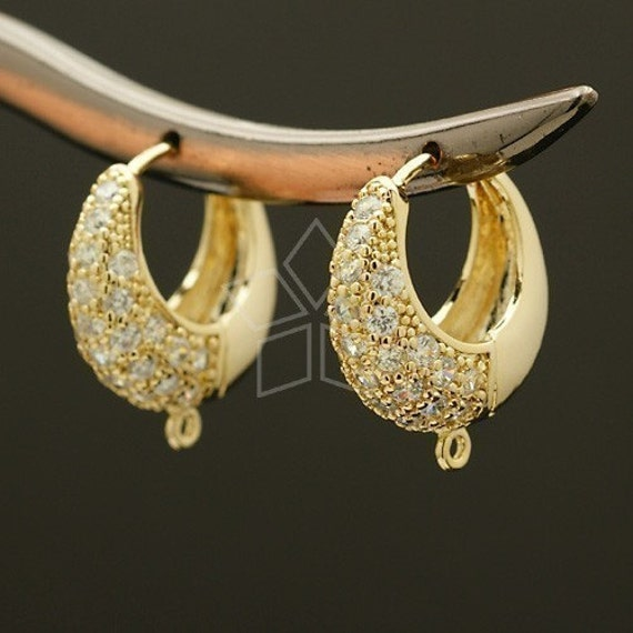 SI-019-GD / 2 Pcs - Crescent Hoop Earring Findings, 16K Gold Plated over Brass body with .925 Sterling Silver Post / 20mm
