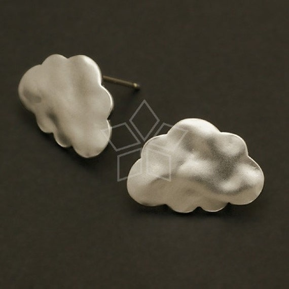 SI-193-MS / 4 Pcs - Cloud Earring Findings, Matte Silver Plated over Brass Body with .925 Sterling Silver Post / 17mm x 12mm