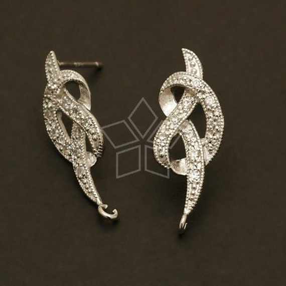 SI-049-OR / 2 Pcs - Jewel Knot Earring Findings, Silver Plated, with .925 Sterling Silver Post / 13mm x 23mm