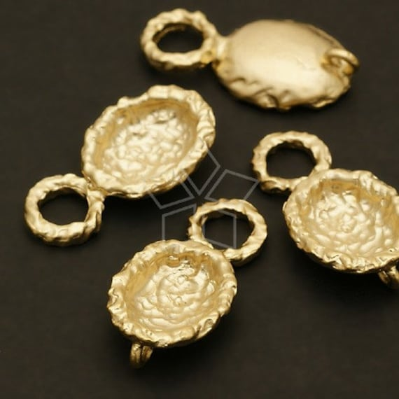 AC-108-MG / 4 Pcs - Spoon Motif Connector, Matte Gold Plated Pewter / 12mm x 23mm
