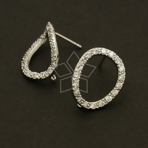 SI-212-OR / 2 Pcs - Cubic Oval Ring Earrings, Silver Plated over Brass Body with .925 Sterling Silver Post / 14mm x 18mm