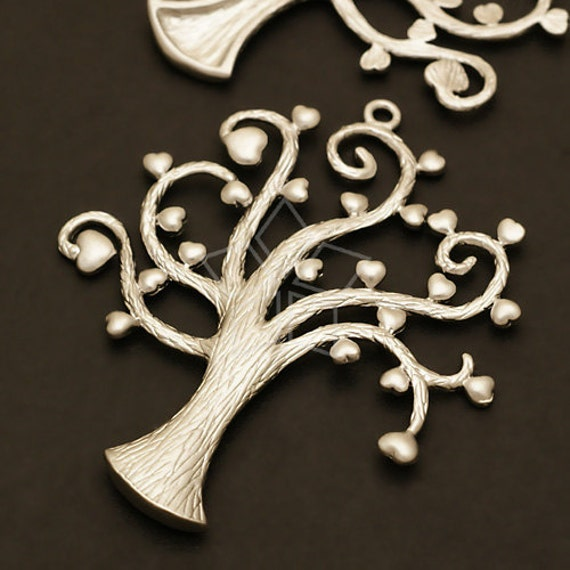 PD-353-MS / 2 Pcs - Heart Tree Pendant, Matte Silver Plated over Pewter / 41mm x 48mm