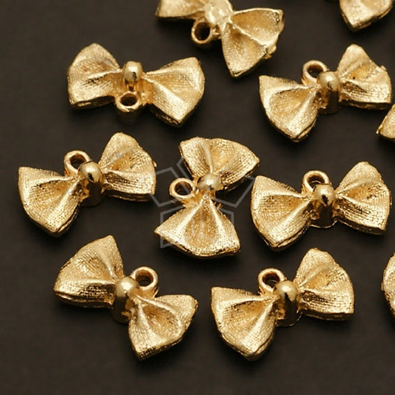 PD-363-GD / 8 Pcs - Glittering Ribbon Charms, Gold Plated over Brass Frame / 13mm x 8mm