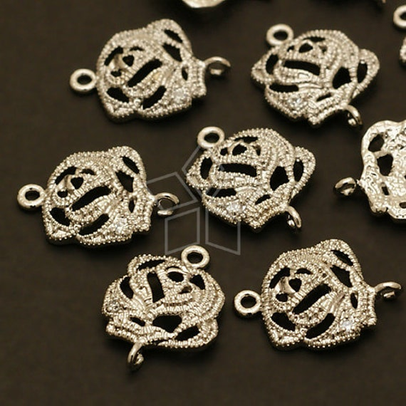 PD-059-OR / 2 Pcs - CZ Jewel Rose Connector, Silver Plated over Brass / 12mm x 15mm