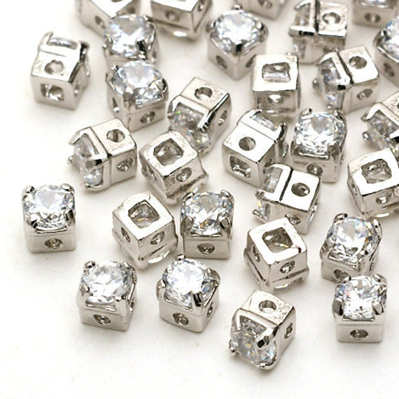 RD-001-OR / 10 Pcs - Square Cubic Zirconia Stone Beads, Silver Plated over Brass / 3mm x 3mm