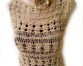 Beige Nude Cotton Hand Knitted Vest Tank Top Sweater for summer
