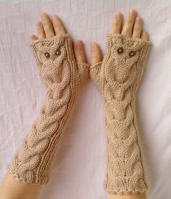 Owl Oatmeal Long Hand Knit Cable Pattern Fingerless by ...