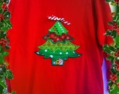 Girls Christmas t shirt with Appliqued Christmas tree