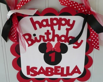 Minnie Mouse Birthday Sign - Red/Black