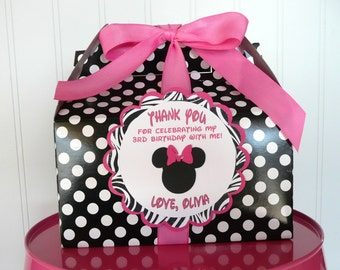 Minnie Mouse ZEBRA Pink & Black Birthday Favor Box-SET of 12