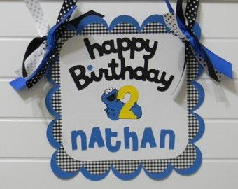 Cookie Monster Happy Birthday Door Sign