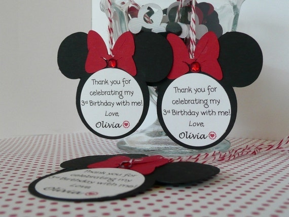 Minnie Mouse Birthday Party Favor Bag Tags - Set of 12 Personalized RED/BLACK