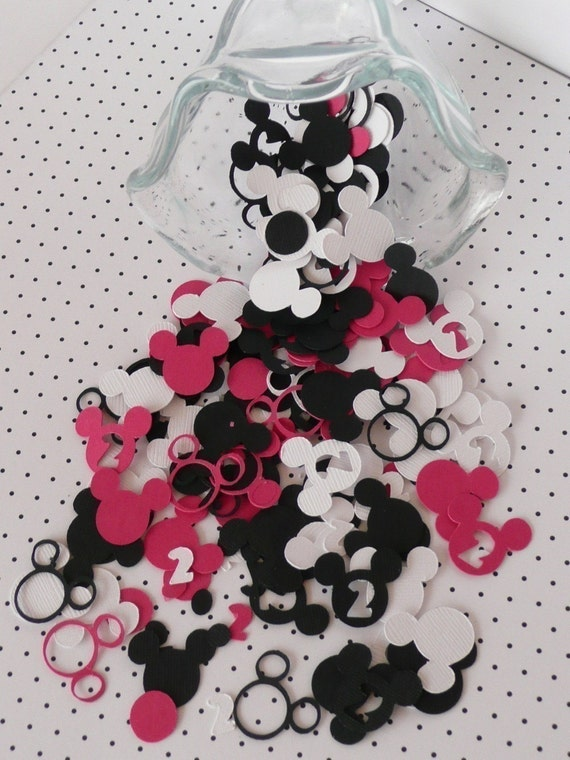 PINK/BLACK Minnie Mouse Birthday Party Table Confetti -Custom Child Age