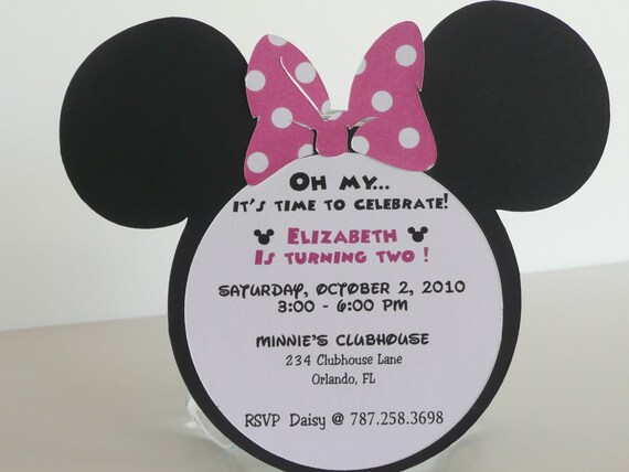 Minnie Mouse Birthday Invitation - Pink Polka Dot Bow Set of 15