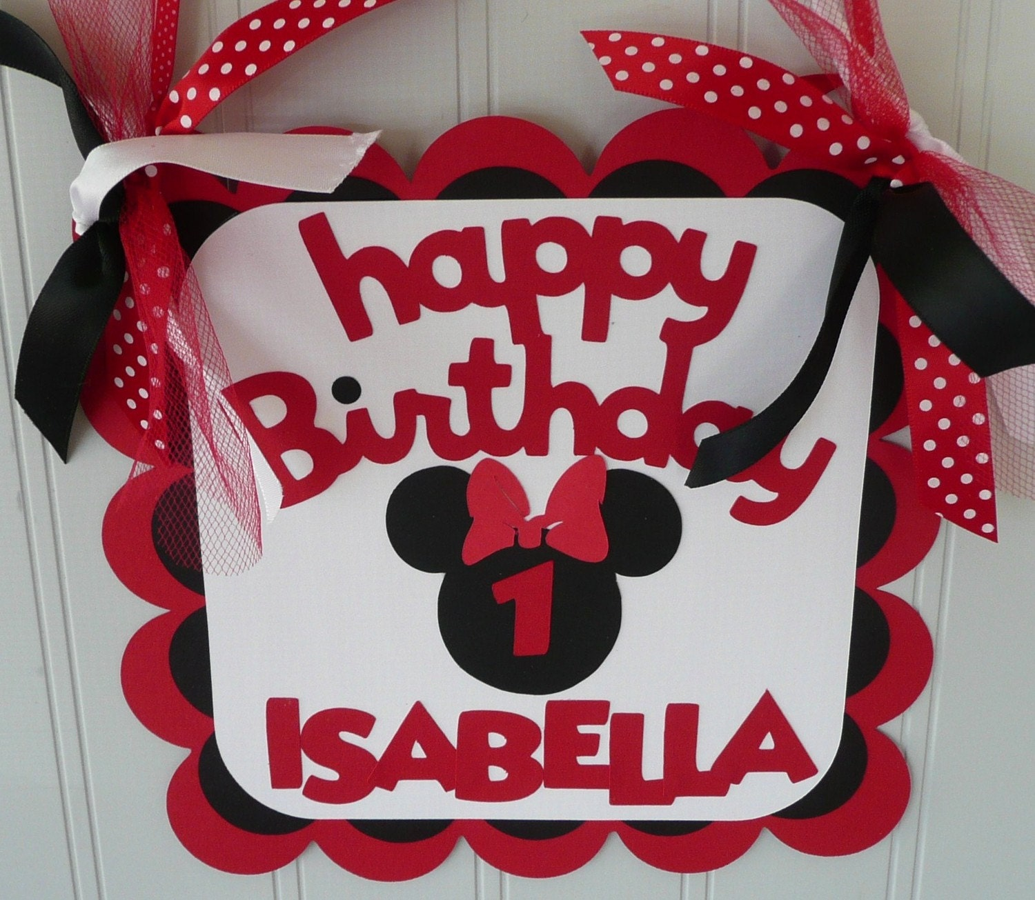 Minnie Mouse Birthday Sign Red/Black