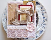 Mother's Day Card. Grandma We Love U SEW much. Shabby Chic. One of a kind.