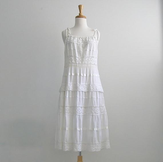 Vintage Crochet Dress / cotton dress / white summer dress / sundress / 70s dress / RESERVED