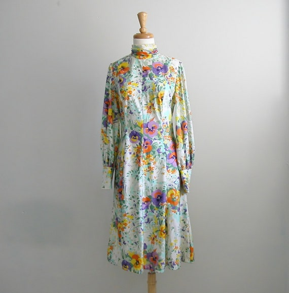 1960s White Dress / 60s party dress / floral dress / pastel / 40s style / Alfred Weber / small medium