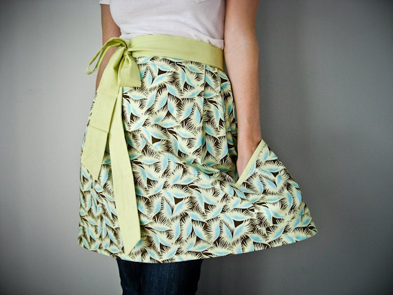 SALE Womens Half Apron / funky feathers in turquoise and brown