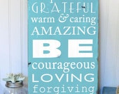 Be Thankful Motivational  Family Rules Typography Word Art Sign  Hand Painted on Wood