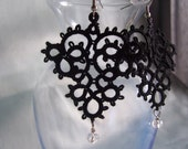 Intrigue Black Tatted Earrings with Beads