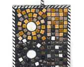 Brown Mosaic Pendant earth tone jewelry abstract design of circles and lines unisex jewelry