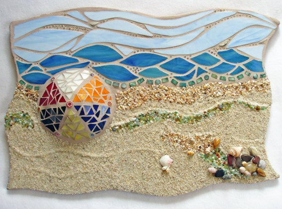 Mosaic Beach Ocean Scene Mixed Media Sculpted Wall Art OOAK