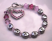 PERSONALIZED Letter Initial Swarovski Charm Bracelet for Baby or Child